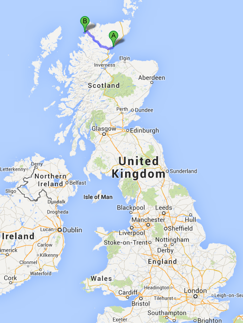 My Dad's two congregations in Brora (A) and Scourie (B).