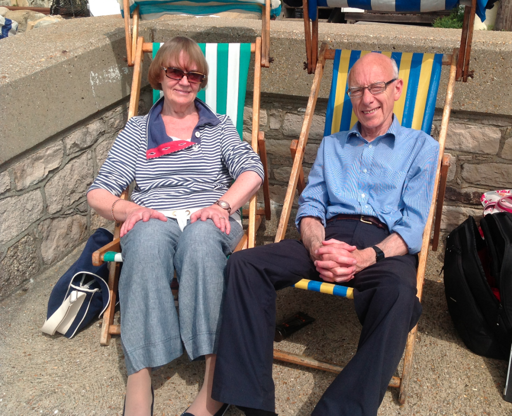 Dad and Mum in the same vacation spot they've been going to for 37 years
